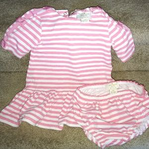 Kate Spade 12 Month Pink/White Stripe Outfit